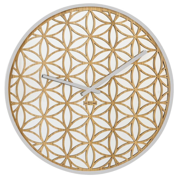 Large Wooden Bella Mirror Wall Clock - White