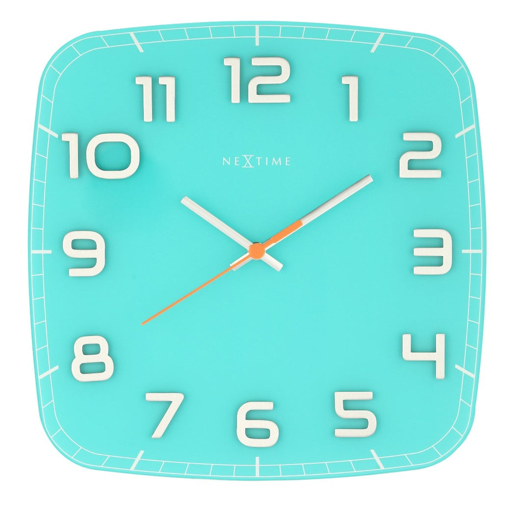 Square Classy Wall Clock - Turquoise
