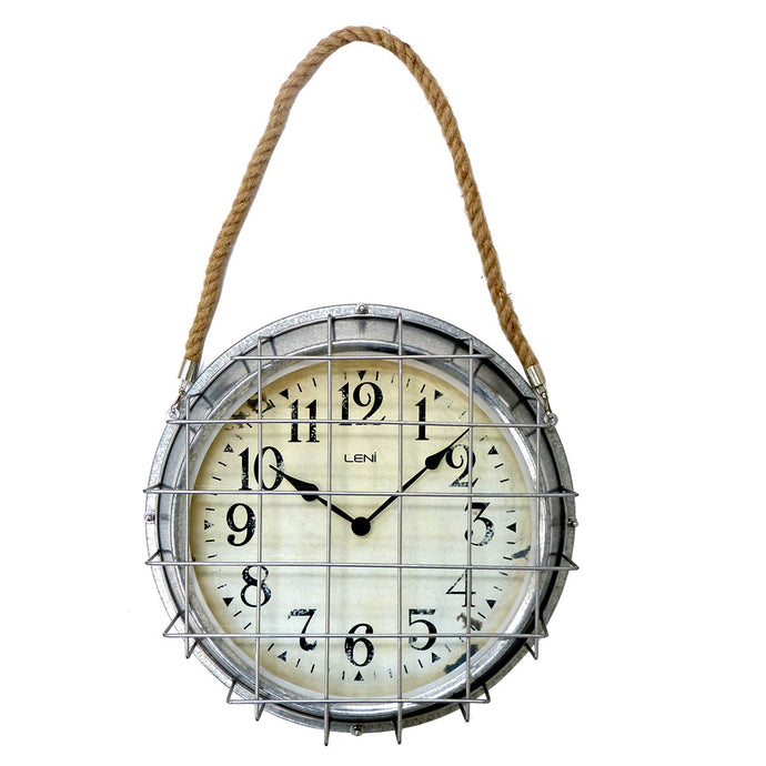 Leni Outdoor Clock - Galvanised & Rope
