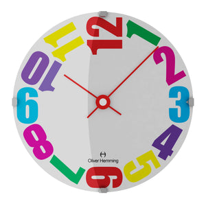 Domed Vitri Kids Colorful Wall Clock- Numbered