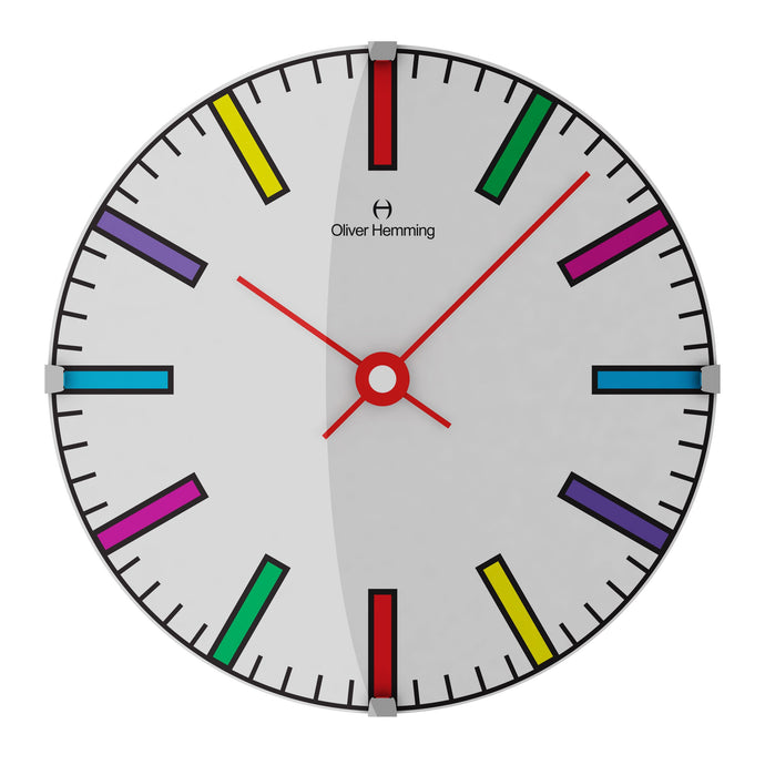 Domed Vitri Kids Colorful Wall Clock- Lines