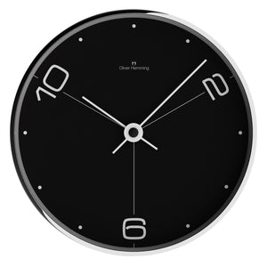 Chrome Case Contemporary Wall Clock - Black