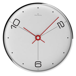 Chrome Case Contemporary Wall Clock - White