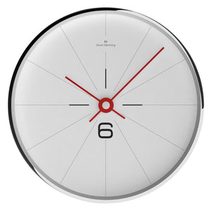 Chrome Case Modern Simple Wall Clock - White