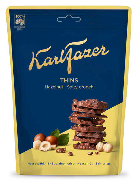 Karl Fazer Thins Hazelnut Salty Crunch 90g