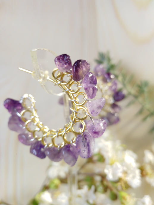 Natural Amethyst Hoops
