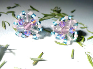 Fluorite Unicorn Blue Post Earrings