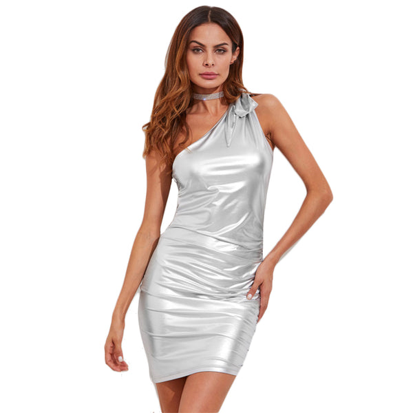 Metallic One Shoulder Bodycon Party Dress