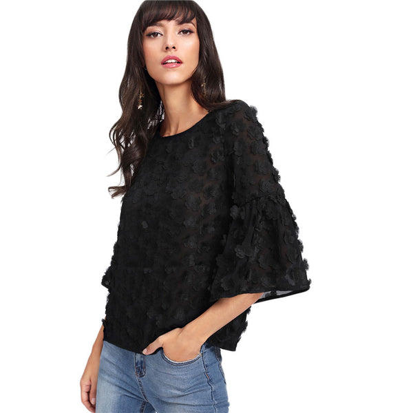 Black Flower Embroidery Semi Sheer Top - Legit Chic