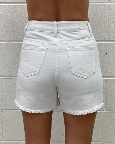 Lili Ripped Shorts - White