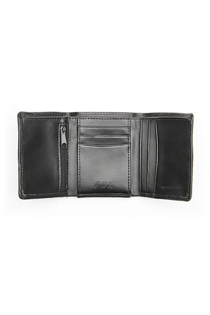 Fox Trifold Leather Wallet - Black