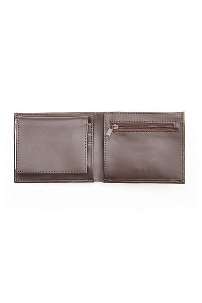 Fox Trifold Leather Wallet - Brown