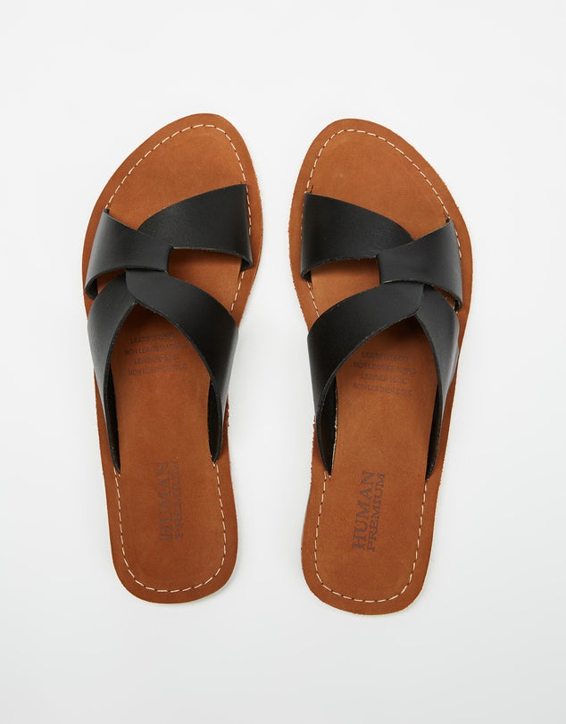 Human Premium Chapel Leather Sandals - Black