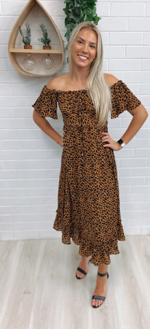 Mishka Midi Dress  - Leopard