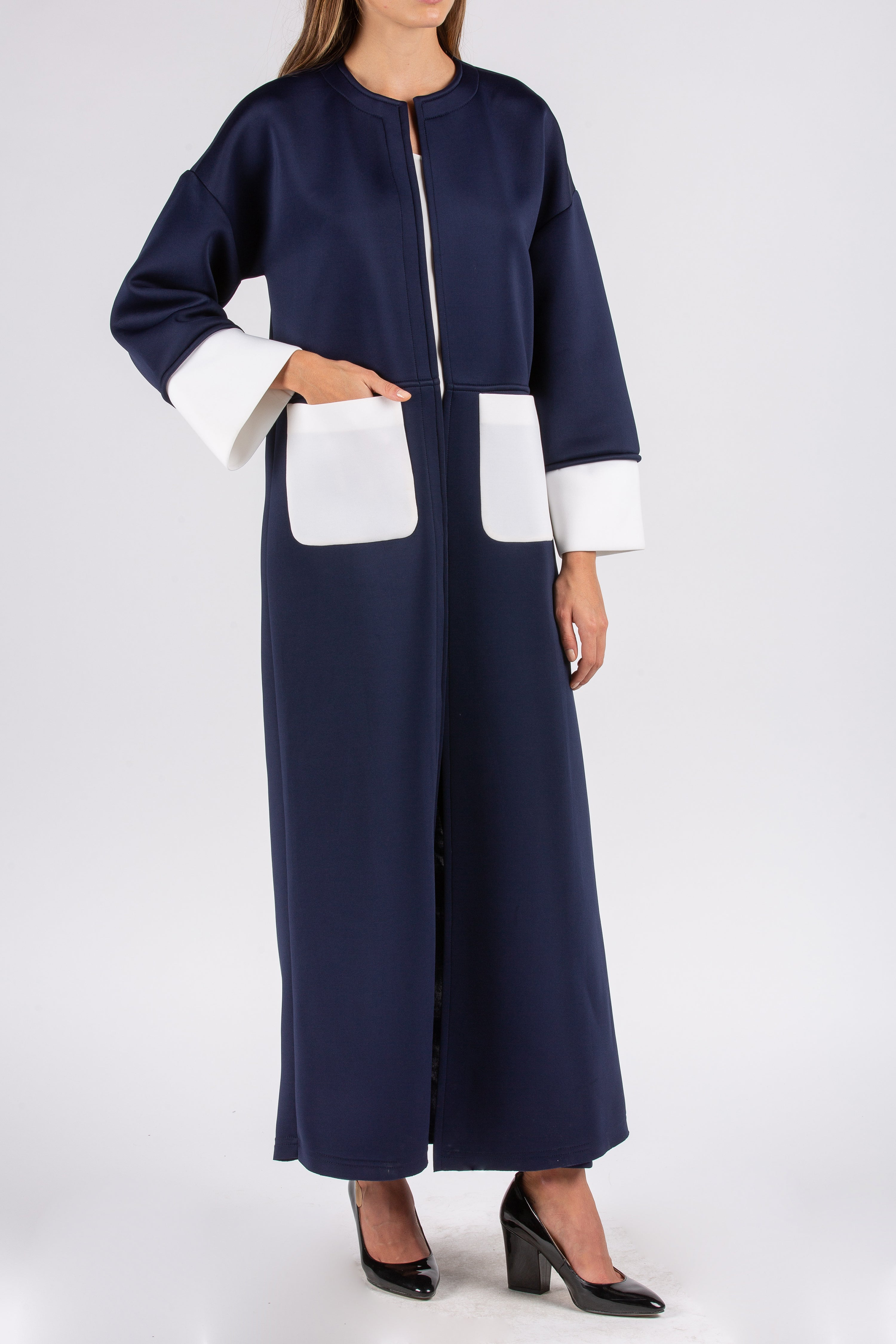 Navy Neoprene Abaya with Pockets