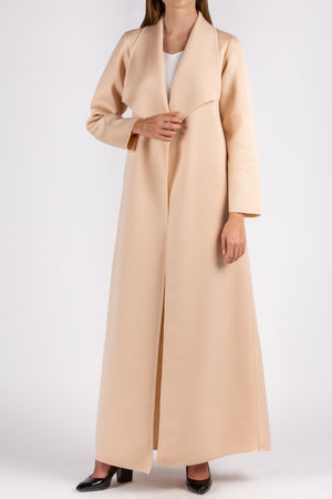 Nude Neoprene Abaya with Collar