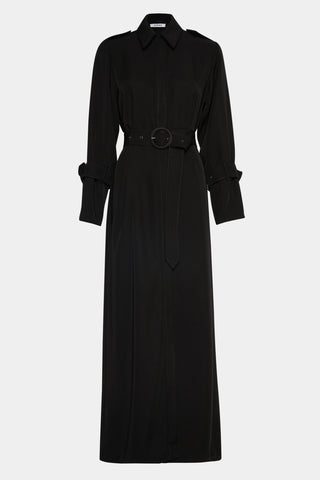 CLASSIC BLACK ON BLACK TRENCH COAT WITH BELT