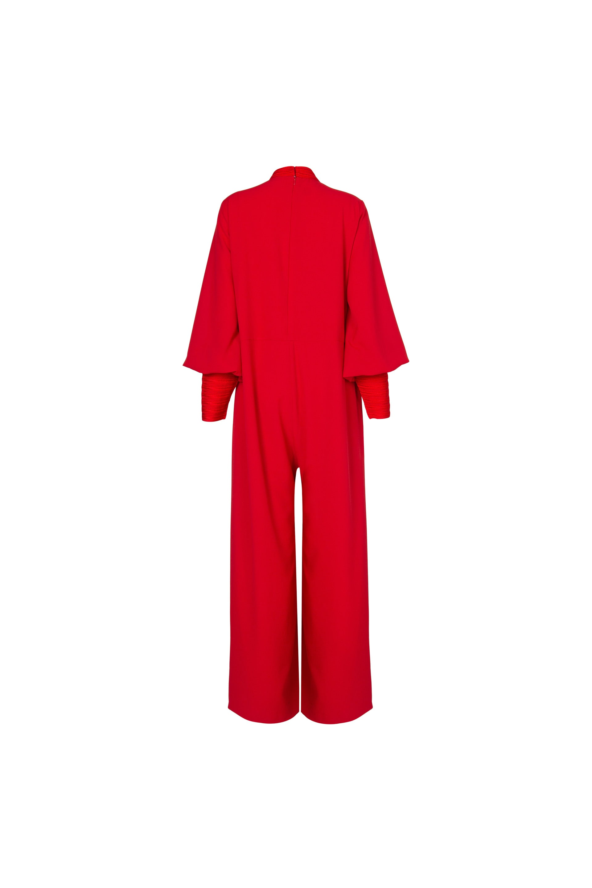 JUMPSUIT WITH MOROCCAN EMBROIDERY IN RED CREPE