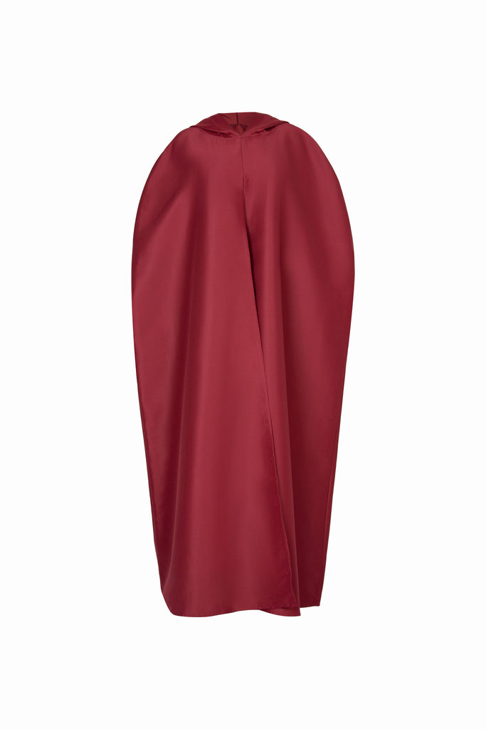 CAPE WITH MOROCCAN EMBROIDERY IN MAROON SATIN