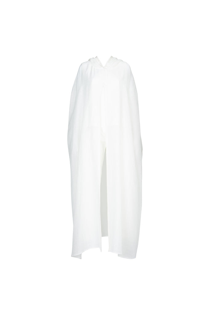 CAPE WITH MOROCCAN EMBROIDERY IN WHITE COTTON