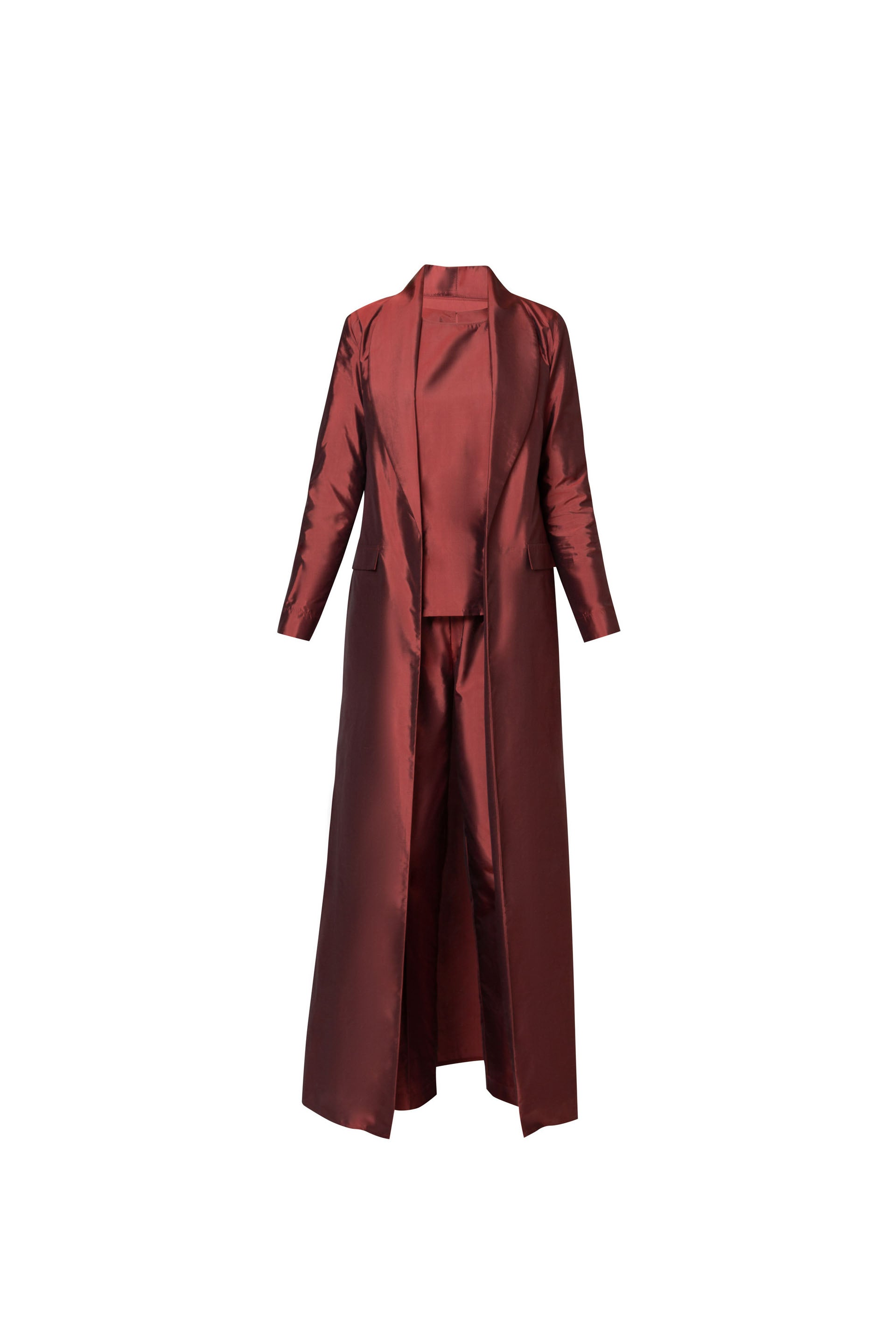 TWO PIECE AND COAT IN COPPER RAW SILK