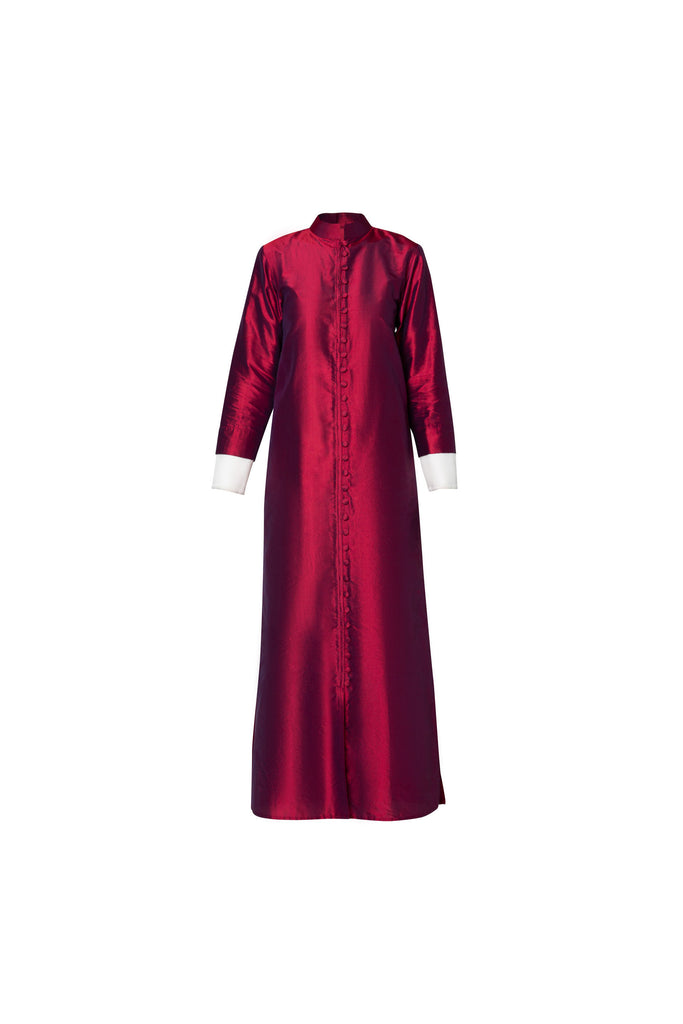 BUTTONED DRESS IN RED RAW SILK