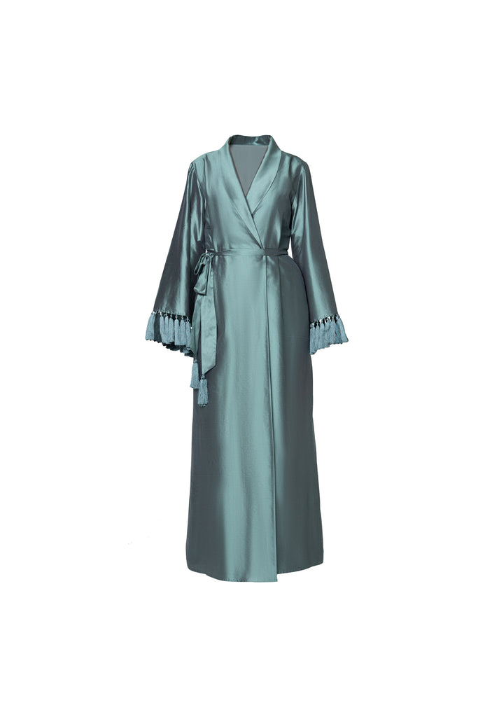 TASSLE ROBE IN TURQUOISE RAW SILK