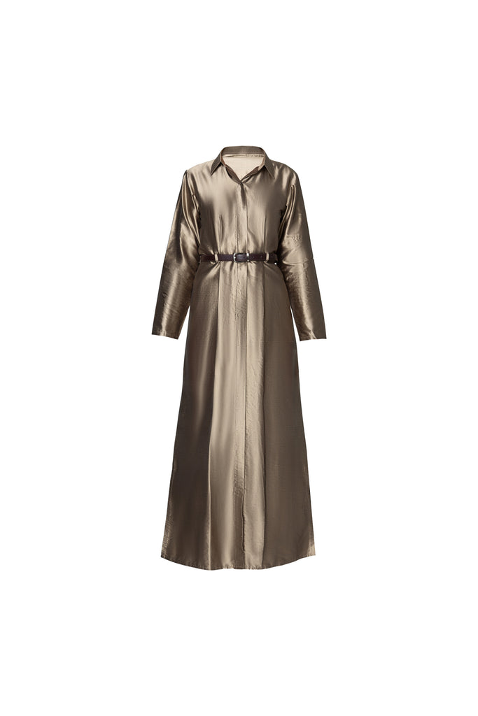 BELTED SHIRT DRESS IN METALLIC RAW SILK