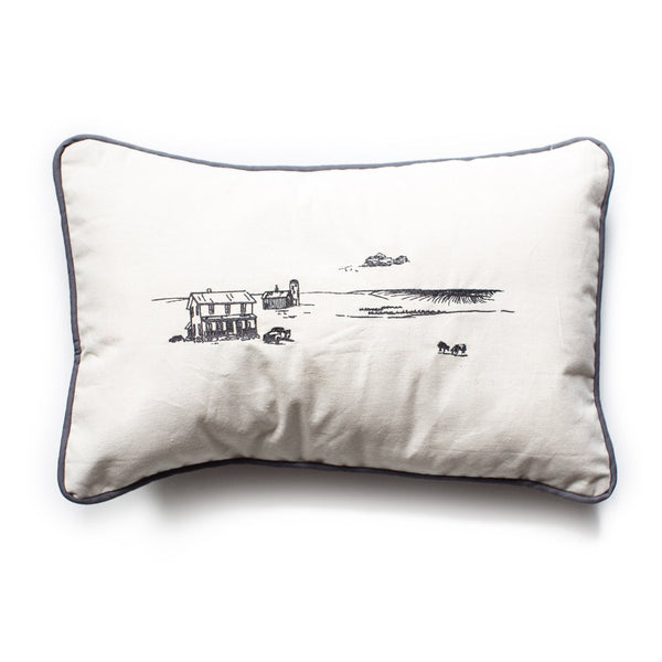 Farmscape embroidered pillow