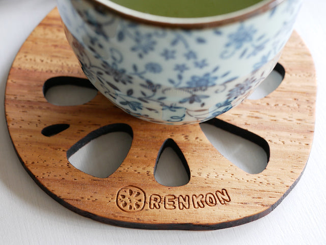 Tanakazougeten Shape Of Fallen Leaves&Lotus Root Wood Coaster