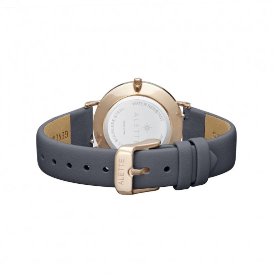 Dark Pearl Rose Gold Watch - Grey leather Straps