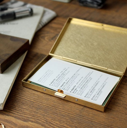 Picus Rust and Solid Brass Box Business Card Case