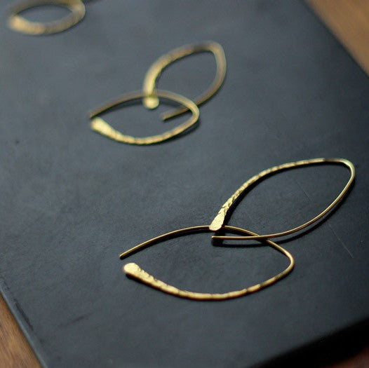 Ro-Ji Kuni Accessories Handmade Oval Brass Earring