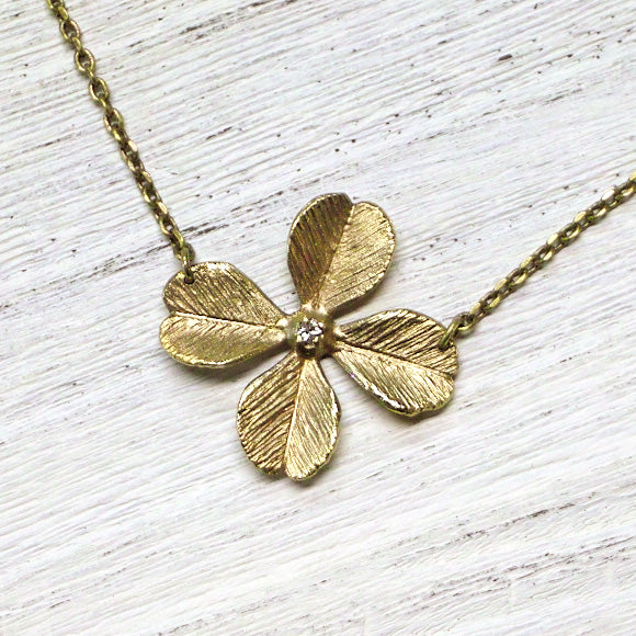 Sasakihitomi Handmade Ladies Jewelry Brass Clover Flower Necklace