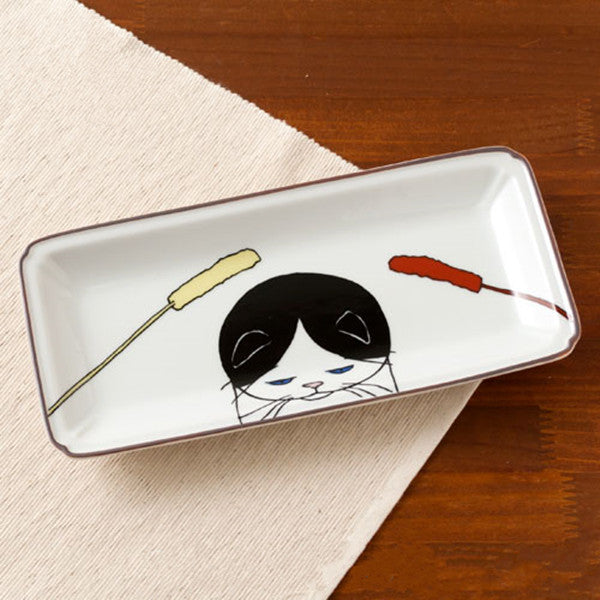 Kutani Seal Japanese Pottery Kutani Yaki Cat Neko Jealousy Rectangle Plate NJ-008