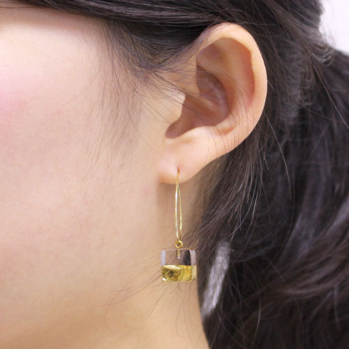 Sorte Glass Jewelry Handmade Glass Gold Mix Hoop Earring SGJ-011SQ