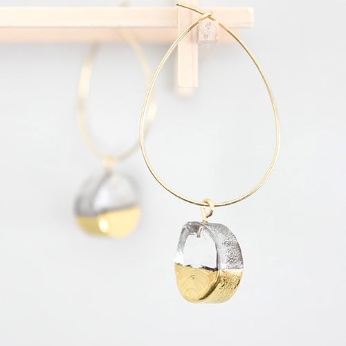 Sorte Glass Jewelry Handmade Glass Gold Mix Hoop Earring SGJ-011CI