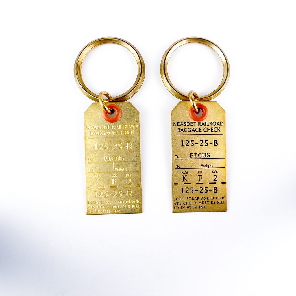 Brass Nostalgic Special Design Luggage Tag Key Ring Spotless