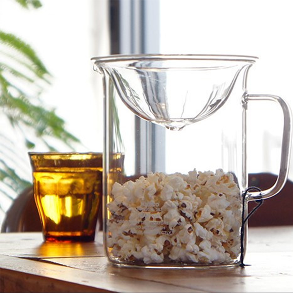 Puebco Borosilicate Glass Heat Resistant Glass Pitcher Popcorn Maker