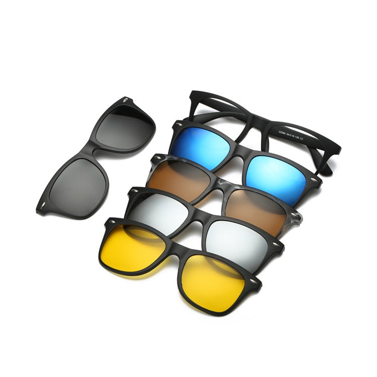 K&D Magnetic Sunglasses Clip On Glasses Unisex Polarized Lenses with 5 Lenses