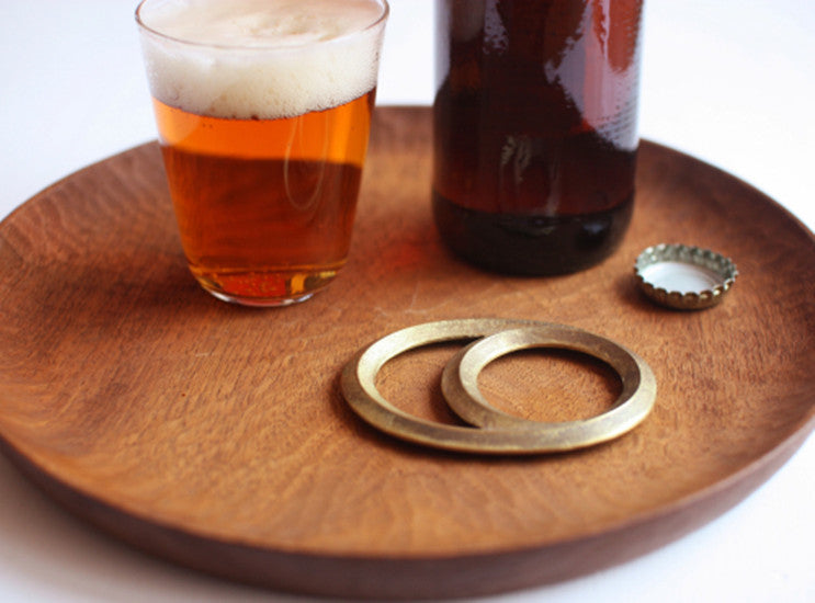 Futagami Solid Brass Solar Eclipse Moon Oval Bottle Opener