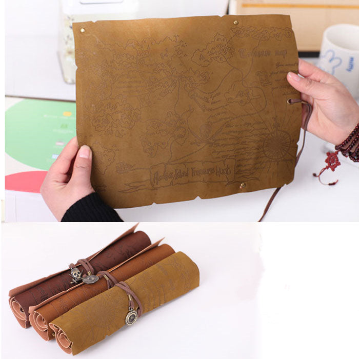 Delight Pirate Map Style Roll Suede Leather Pen Case