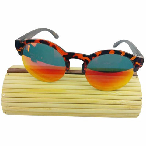 Round Bamboo Sunglasses with Case