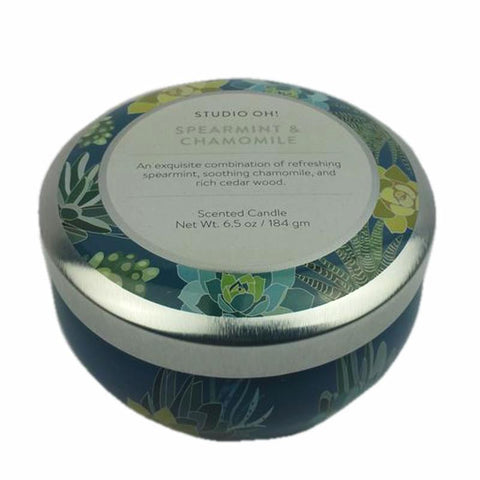 Travel Tin Scented Candle: Spearmint/Chamomile 50hr burning time