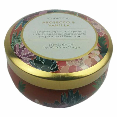 Travel Tin Scented Candle: Prosecco/Vanilla 50hr burning time