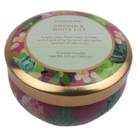 Travel Tin Scented Candle: Orchid/White Lily 50hr burning time