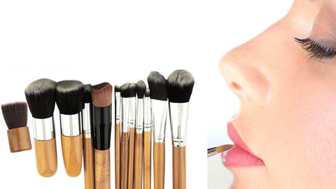 Professional wood handle 11 piece brush set with fabric pouch