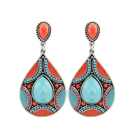 Orange and Turquoise Colour Silver Beaded Pear Drop Earrings