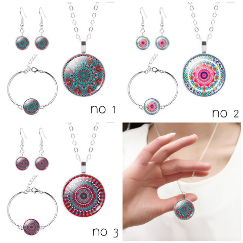 Flower Symbol Glass Cabochon Necklace, Earring and Bracelet Set