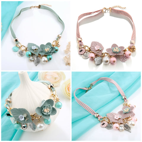 Fancy Ribbon and Chain Floral Necklace